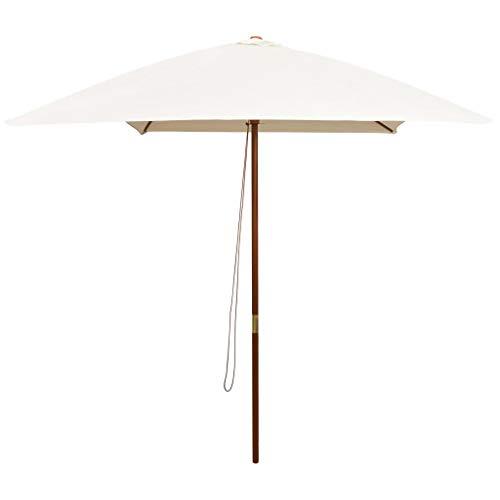 Festnight Parasol met houten paal Tuin Parasol Paraplu Buiten Zonnescherm voor Patio/Strand/Zwembad Parasols UV50 + 200x300 cm crèmewit