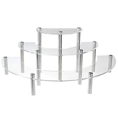 MyGift 3-Piece Set Clear Acrylic Half Moon Server Cupcake Dessert Display Stand, Tabletop Collectible Showcase Risers