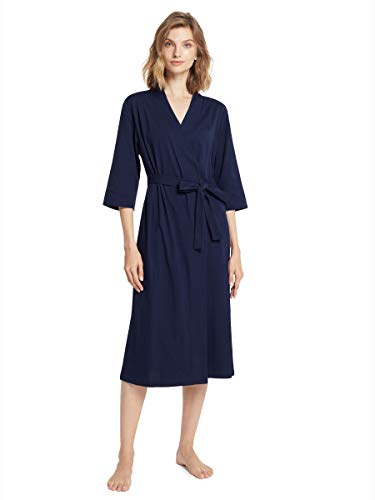 SIORO Damen Kimono-Bademantel, Baumwolle, leicht, lang, gestrickt, dünn, Nachtwäsche, weich, Damen-Loungewear, S-3XL, navy, XX-Large
