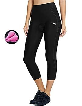 BALEAF Women s 3D Padded Cycling Pants Bike Shorts Leggings Capris Breathable 3/4 Tights UPF 50+ Black Line Size XL