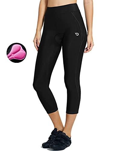 BALEAF Women's 3D Padded Cycling Pants Bike Shorts Leggings Capris Breathable 3/4 Tights UPF 50+ Black Line Size XXL