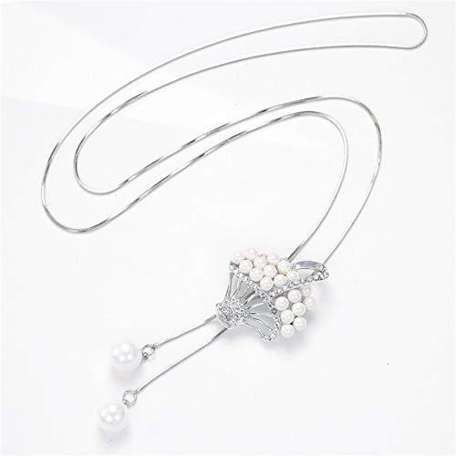 IJEWALRY Collar Colgante Plata para Mujer, Encanto Mujer Collar Cadena Larga Plata Simulada Perla Cesta Collares Y Colgantes Moda Coreana Ketting Niñas Regalo