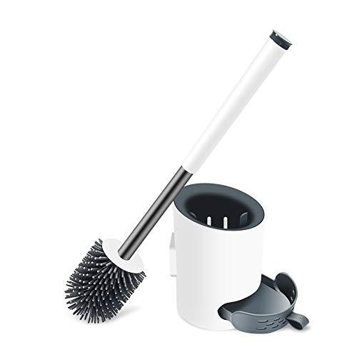 Fanient Toilettenbürste, Silikon WC-Bürste und schnell trocknendem Haltersatz Moderne Klobürste für Badezimmer oder Gäste-WC Wandmontage & Stehen(Weiß)