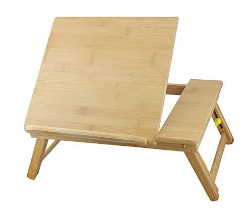 ObboMed HR-3620 Multifuncional Mesa de Bambú para Portátil/Bandeja de Cama para Desayuno/Escribir sobre el Regazo, con Tapa Basculante Ajustable y Patas Plegables y Extensibles - M : 43.5 x 31.5 cm