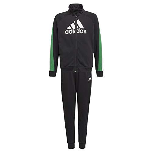 adidas GM8915 B BOS COT TS Tuta da Ginnastica Bambino Top:Black/Core Green/White Bottom:Black/Vivid Green s21/white 1516