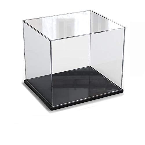 Caja de exhibición de acrílico transparente para la colección de minifiguras Lego, caja de exhibición de almacenamiento a prueba de polvo con base para mini figuras de juguete (Negro, 30x30x30cm)