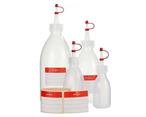 Flaconi dosatori da 50 ml, 100 ml, 250 ml, 500 ml di volume, spruzzino in LDPE con tappo salvagoccia, per garage,  per cucina, hobby o laboratorio, 4 pezzi