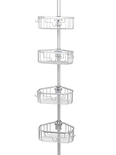 Zenna Home NeverRust Rustproof Tension Pole Shower Caddy, Satin Chrome