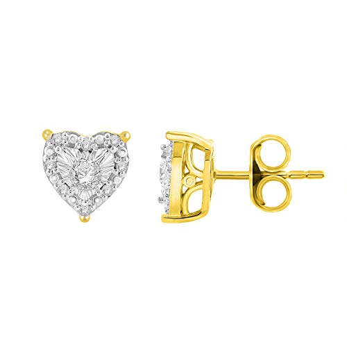 NATALIA DRAKE 1/4 Cttw Diamond Heart Halo Earrings for Women in Yellow Gold Plated Sterling Silver (Color H-I/Clarity I1-I2)