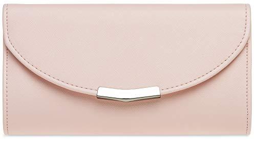 CASPAR TA360 elegante Damen Envelope Clutch Tasche/Abendtasche mit langer Kette, Größe:One Size, Farbe:rosa