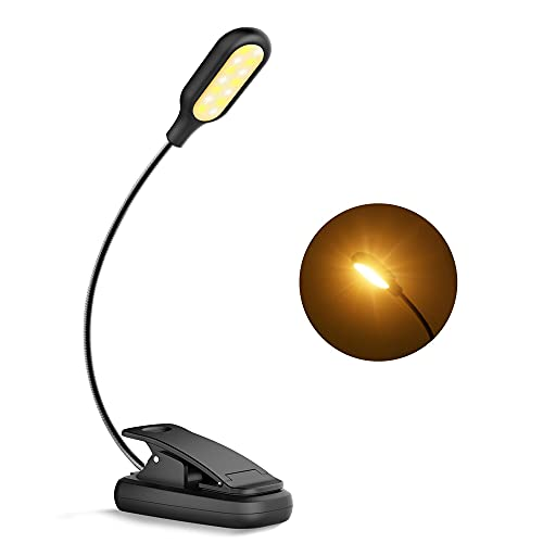 EmeritPro Luz Lectura, 14 LEDs Recargables Lampara para Leer en la Cama con 4 Niveles de Luminosidad, Lámpara de Clip para Lectura Nocturna, E-Reader, Estudio, Trabajo, Cama, Tablet