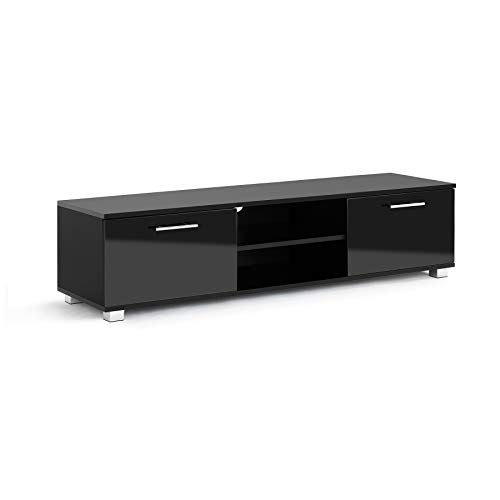 MMT HT01 Black High Gloss TV Stand Cabinet Unit for 49 50 55 65 inch 4k TV 140 cm wide Fully Gloss