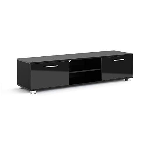 Mobile porta TV laccato lucido, colore nero,largo 140 cm, con ante, per televisori smart LCD, LED e 3D da 32 a 55 pollici
