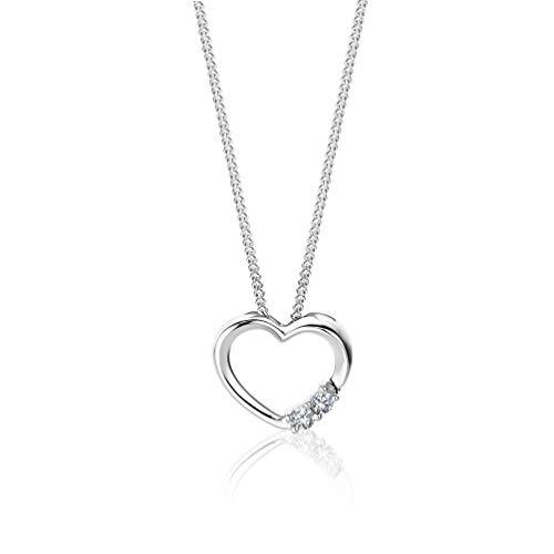 Orovi Halskette für Damen mit Diamant Weißgold 9 Karat (375) Brillianten 0.05Ct, mit Herz Anhänger Goldkette