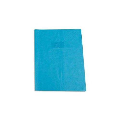 Calligraphe (gamme scolaire Clairefontaine) 72010AMZC - Un protège-cahier grain cuir 17x22 cm 22/100ème avec porte-étiquette, en PVC (plastique) opaque, Bleu clair