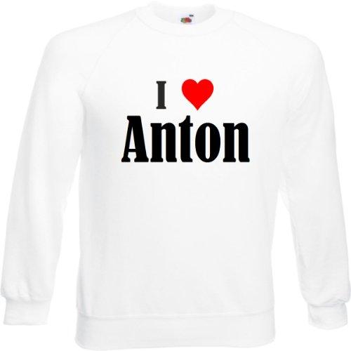 Reifen-Markt Sweatshirt I Love Anton Größe L Farbe Weiss Druck Schwarz