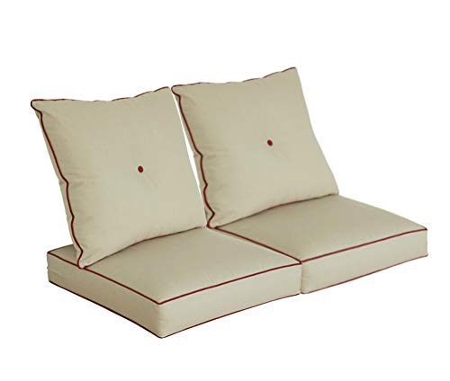 BOSSIMA Cushions for Patio Furniture, Outdoor Water Repellent Fabric, Deep Seat Pillow and High Back Design, Khaki