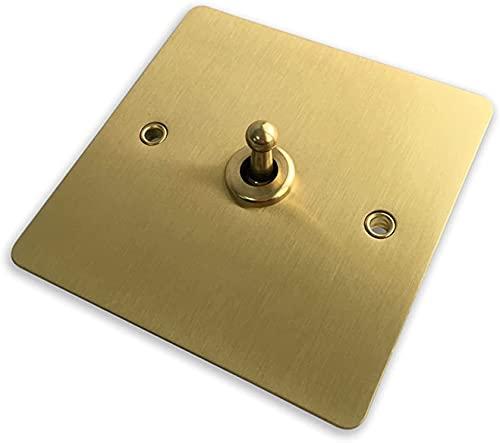 Interruptor de luz de 1 banda, 2 pandillas, 3 luces y panel de cobre de 10 A, interruptor de pared de 2 vías, diseño elegante (color 3 bandas de 2 vías) (tamaño 1 pandilla)