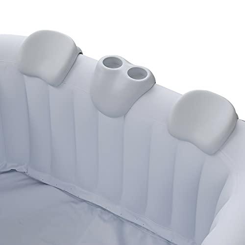 Arebos Komfort-Set 2 Nackenkissen + Getränkehalter für Whirlpool | weiß | 100% wasserdicht | ergonomisch geformt | PU Schaum