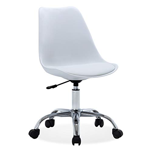 BELLEZE Upholstery Mid-Back Office Desk Chair Faux Leather Height Adjustable Swivel, White