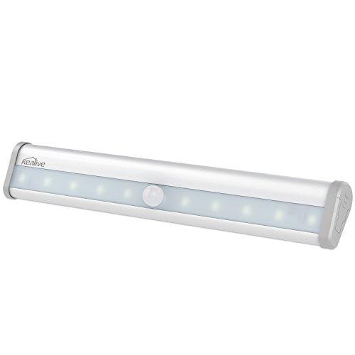 Kealive Luce Wireless con Sensore del Movimento 10 LED Luce Notturna Portatile con Striscia Magnetica per Armadio, Scale, Notte, Corridoio, Viottolo, Muro, ecc (Argento, LT-KW2)