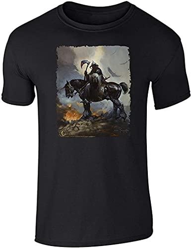 Death Dealer by Frank Frazetta Art Short Sleeve T-Shirt Print T Shirt Mens Short Sleeve Hot Top Tee for Man Better Black_833