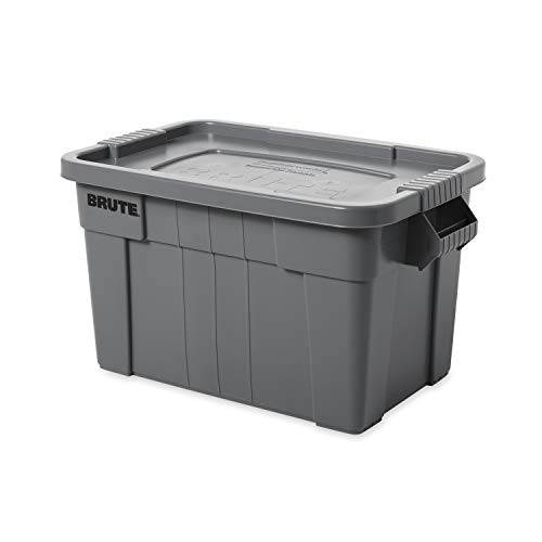 Rubbermaid Commercial Products FG9S3100GRAY, 75.5L BRUTE Tote with Lid - Grey