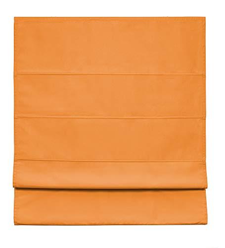 Easydeco - Estor Plegable loneta Premium con Varillas (Naranja, 90_x_175_cm)