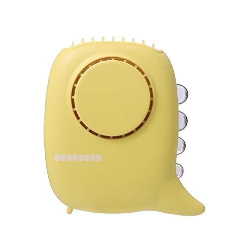 Tixiyu Ventilador de cuello colgante de dinosaurio, multifuncional USB, mini ventilador de escritorio con luz nocturna, 3 velocidades de conmutación, compatible para oficina, hogar, viajes,amarillo