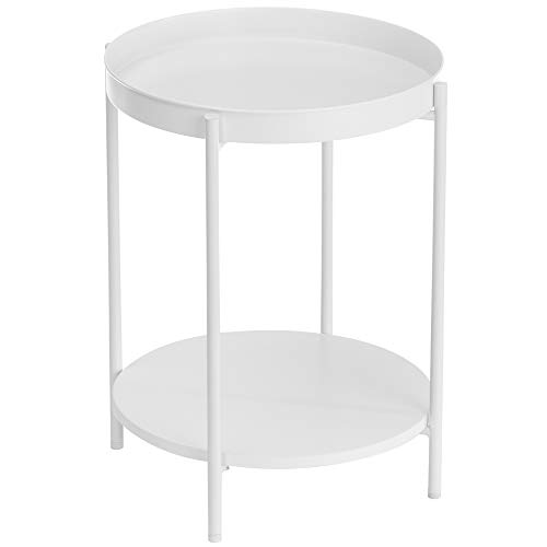 VASAGLE 2-Tier Side Table, End Table with Movable Tray, Coffee Table, Steel Frame, for Living Room, Bedroom, White LET221W10