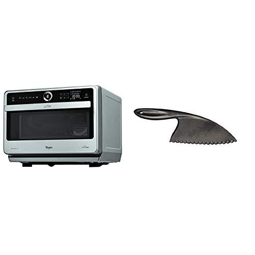 Whirlpool Microonde JT 479 IX Chef Premium termoventilato combinato, 33 litri, Inox, con griglia alta, griglia bassa, piatto Crisp maniglia CUT001 Coltello AntiGraffio in Nylon