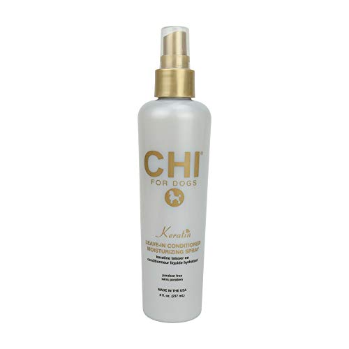 CHI for Dogs Keratin Leave In Conditioner Moisturizing Spray, 8 oz   Paraben Free & pH Balanced for Dogs   Made In the USA