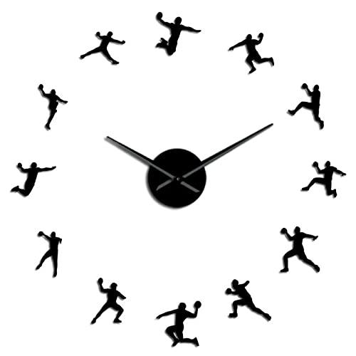 Reloj de pared Jugadores de balonmano silueta acrílica pegatinas de espejo Diy Arte de pared Reloj de pared Habitación para adolescentes Decoración deportiva Entrenador de balonmano Regalo Negro