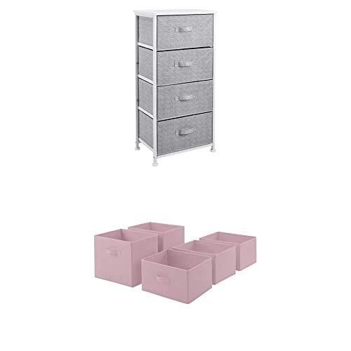 Amazon Basics - Aufbewahrungsschrank für Kleiderschränke, mit 4 Stoff-Schubladen, Weiß + - Ersatzschubladen aus Stoff für einen Aufbewahrungsschrank mit 4 Schubladen - Blassrosa