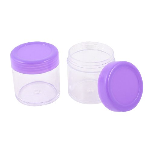 sourcingmap Pot plastique transparent/couvercle violet vide liquide/crème maquillage/cosmétique 2 pièces