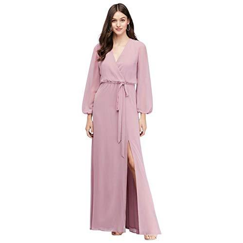 David's Bridal Long Sleeve Chiffon Faux-Wrap Bridesmaid Dress Style W60041, Dusty Rose, 10
