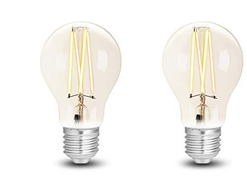 2x WiZ Smart LED Leuchtmittel White Clear A60 E27 dimmbar, 2200K-5500K, lm810, App & Voice Control Alexa, Siri, Google & IFTTT, Filament, Energieklasse A+