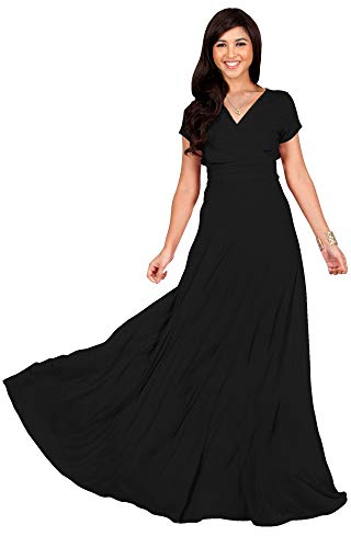 KOH KOH Plus Size Womens Long Cap Short Sleeve V-Neck Flowy Cocktail Slimming Summer Sexy Casual Formal Sun Sundress Work Cute Gown Gowns Maxi Dress Dresses, Black 2XL 18-20