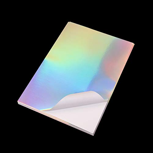FuTaiKang 20 hojas de vinilo holográfico tamaño A4 arco iris para impresora de inyección de tinta láser