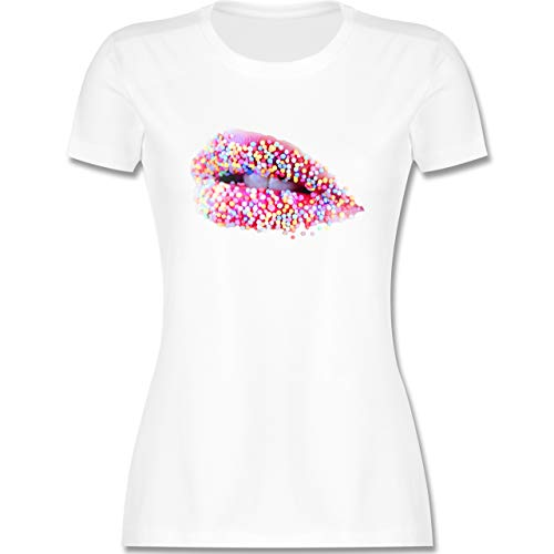 Statement - Candy Lips Lippen Zucker Mund - S - Weiß - kussmund t-Shirt - L191 - Tailliertes Tshirt...