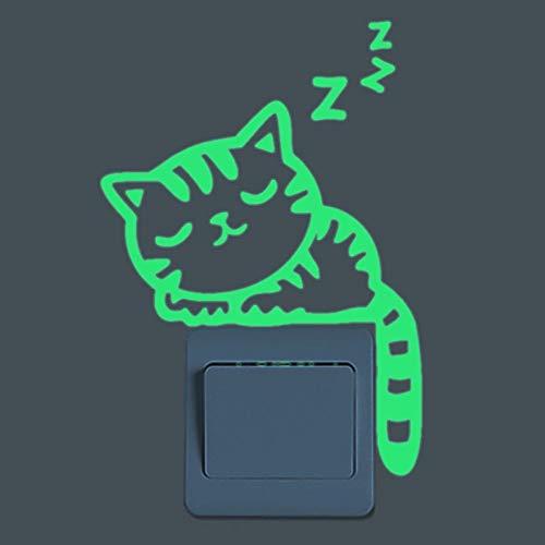weichuang Pegatina luminosa de pared con diseño de gato que brilla en la oscuridad, diseño de hadas, luna y estrellas, color 01