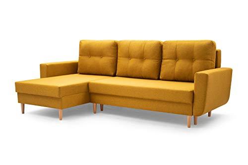 MOEBLO Sofa mit Schlaffunktion und Bettkasten, Couch für Wohnzimmer, Schlafsofa Federkern Sofagarnitur Polstersofa Wohnlandschaft mit Bettfunktion - Coral (Gelb, Ecksofa Links)