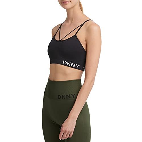 DKNY Sport Women's Performance Support Yoga Running Bra, Black, M
