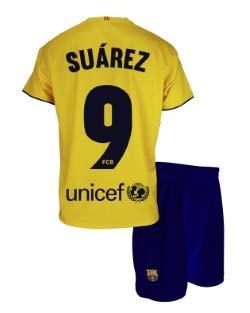 Conjunto Camiseta y pantalón 2ª equipación FC. Barcelona 2019-20 - Replica Oficial con Licencia - Dorsal 9 Suarez - 6 años