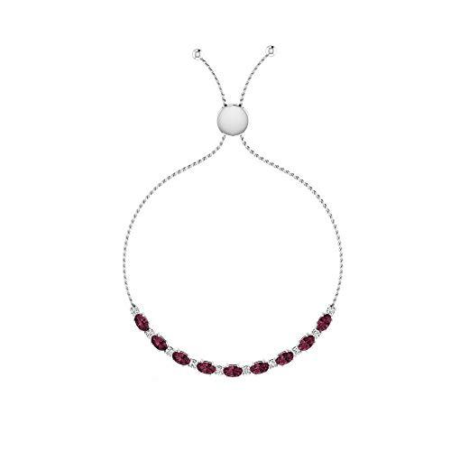Pulsera Bolo de diamante de 3,45 quilates con forma ovalada, con certificado SGL, color rojo caliente, con piedra natal de enero, pulsera ajustable, cadena nupcial para boda, 92.5 Plata esterlina