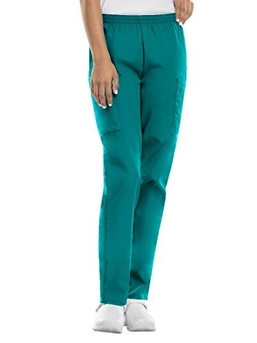CHEROKEE Women's Workwear Elastic Waist Cargo Scrubs Pant, Teal Blue, X-Large/Petite