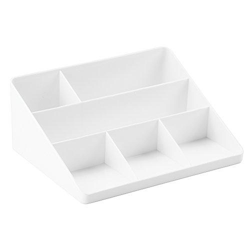 iDesign Linus opbergsysteem voor brieven en kantoorartikelen, brievenbakje van kunststof, opbergvak voor op het bureau of de plank, wit