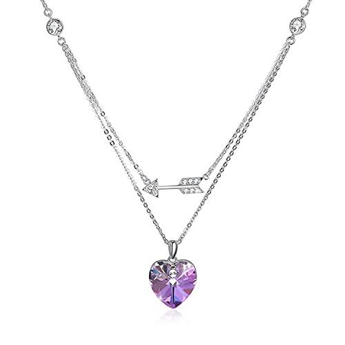 HAOXUAN Collar de Flecha de Plata esterlina S925, Collar con Colgante de Flecha de Cuerpo Lateral, Hecho a Mano, hipoalergénico y Elegante, Cadena Colgante en Forma de corazón, joyería,Púrpura