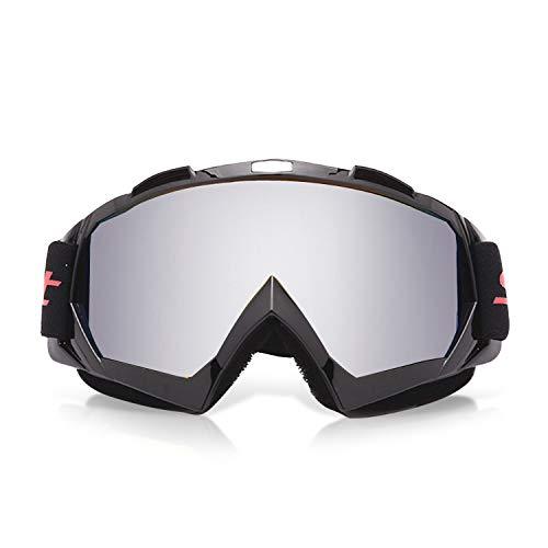 Galatée Motocross Vidrios a Prueba de Viento UV Goggle para Esquí, Patinaje, Escalada, Camping, Carreras, Gafas para el Polvo, Resistentes al Viento (Lente plateado - marco negro) ⭐