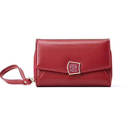 Carteras para Mujeres con Cremallera de Moda PU Cuero señoras Bolso de Embrague de Tarjeta de Monedero de Longitud Media,Rojo